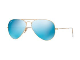 Ray-Ban 3025 AVIATOR LARGE 58-14 MATTE GOLD CRY.GREEN MIRROR MULTIL.BLUE